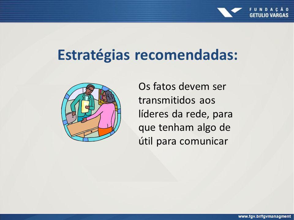 Estratégias recomendadas: Os fatos devem ser transmitidos aos líderes da rede, para que tenham algo de útil para comunicar