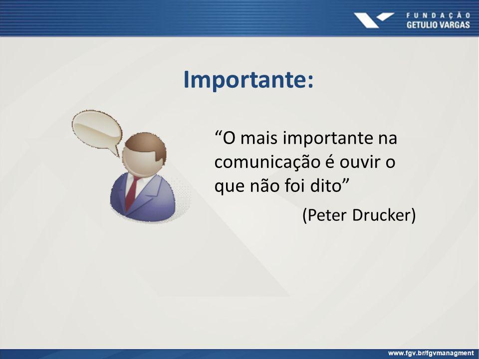 Importante: O mais importante na comunicação é ouvir o que não foi dito (Peter Drucker)