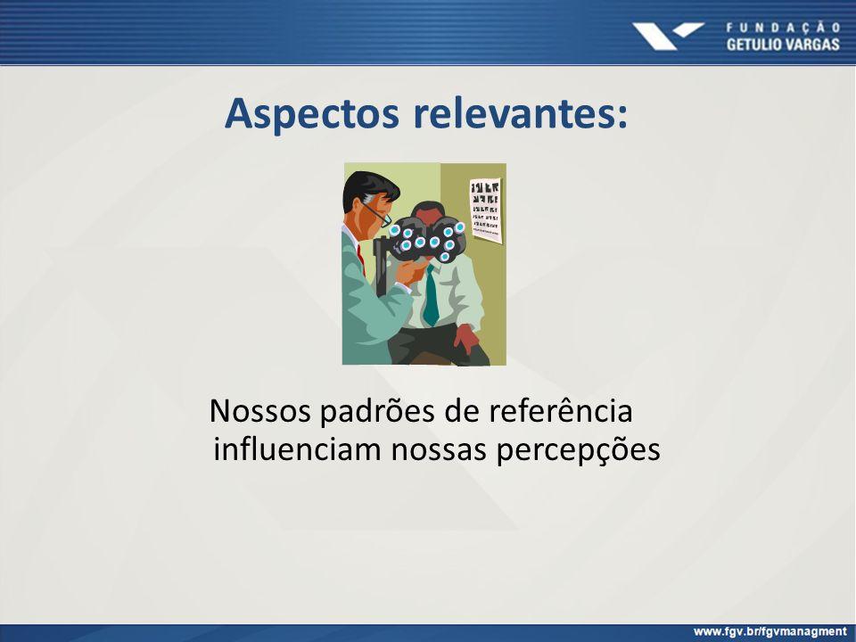 Aspectos relevantes: Nossos padrões de referência influenciam nossas percepções