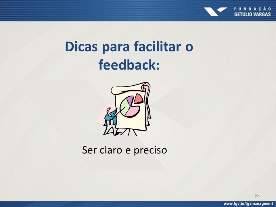 Dicas para facilitar o feedback: Ser claro e preciso 88