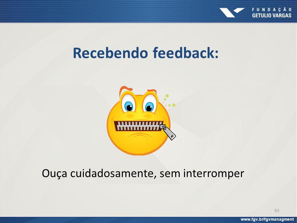Recebendo feedback: Ouça cuidadosamente, sem interromper 93
