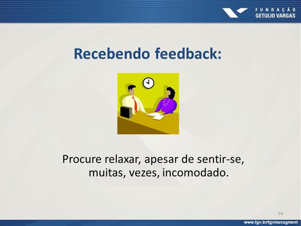 Recebendo feedback: Procure relaxar, apesar de sentir-se, muitas, vezes, incomodado. 94