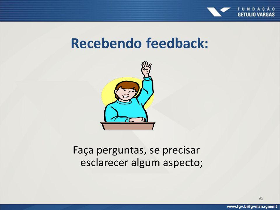 Recebendo feedback: Faça perguntas, se precisar esclarecer algum aspecto; 95