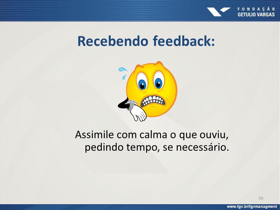 Recebendo feedback: Assimile com calma o que ouviu, pedindo tempo, se necessário. 99