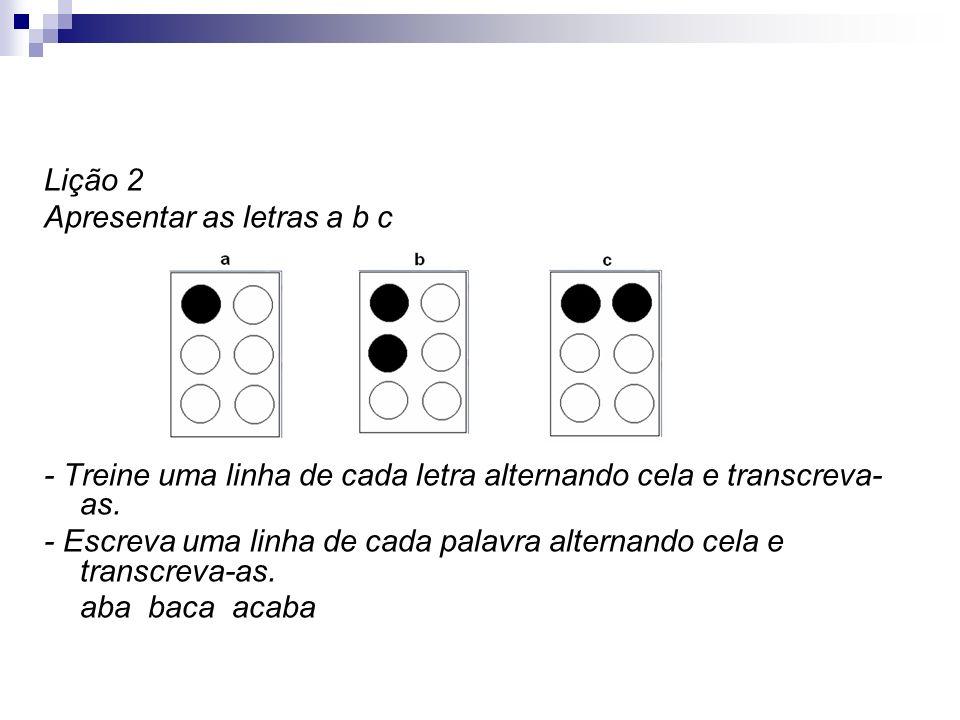 Lição 2 Apresentar as letras a b c - Treine uma linha de cada letra alternando cela e transcreva- as. - Escreva uma linha de cada palavra alternando c