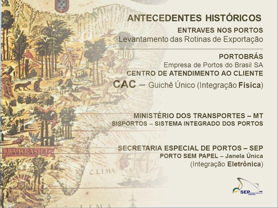 PORTOBRÁS Empresa de Portos do Brasil SA CENTRO DE ATENDIMENTO AO CLIENTE CAC – Guichê Único (Integração Física) MINISTÉRIO DOS TRANSPORTES – MT SISPORTOS – SISTEMA INTEGRADO DOS PORTOS SECRETARIA ESPECIAL DE PORTOS – SEP PORTO SEM PAPEL – Janela Única (Integração Eletrônica) ANTECEDENTES HISTÓRICOS ENTRAVES NOS PORTOS Levantamento das Rotinas de Exportação
