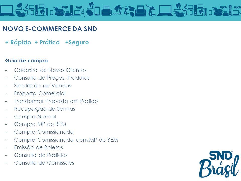 NOVO E-COMMERCE DA SND + Rápido + Prático +Seguro Guia de compra -Cadastro de Novos Clientes -Consulta de Preços, Produtos -Simulação de Vendas -Propo