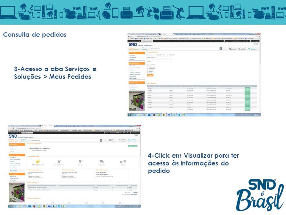 Consulta de pedidos 3-Acesso a aba Serviços e Soluções > Meus Pedidos 4-Click em Visualizar para ter acesso às informações do pedido