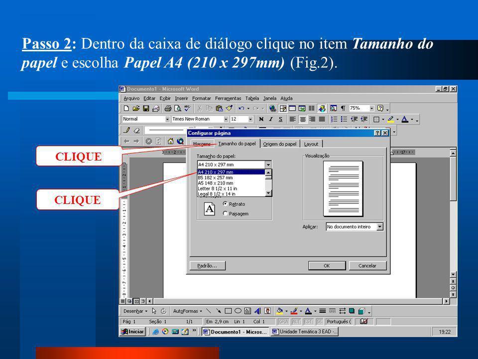 CLIQUE Passo 1: Clique no menu Arquivo / Configurar página (Fig.1).