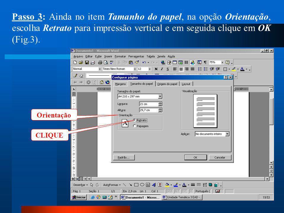 CLIQUE Passo 2: Dentro da caixa de diálogo clique no item Tamanho do papel e escolha Papel A4 (210 x 297mm) (Fig.2).