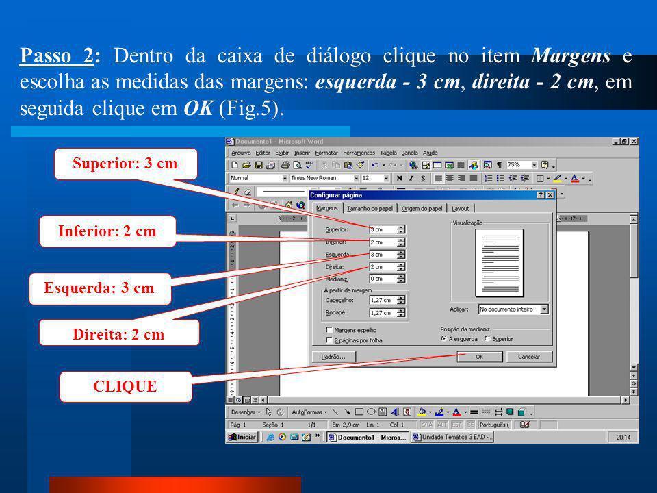 CLIQUE Passo 1: Clique no menu Arquivo / Configurar página (Fig.4).