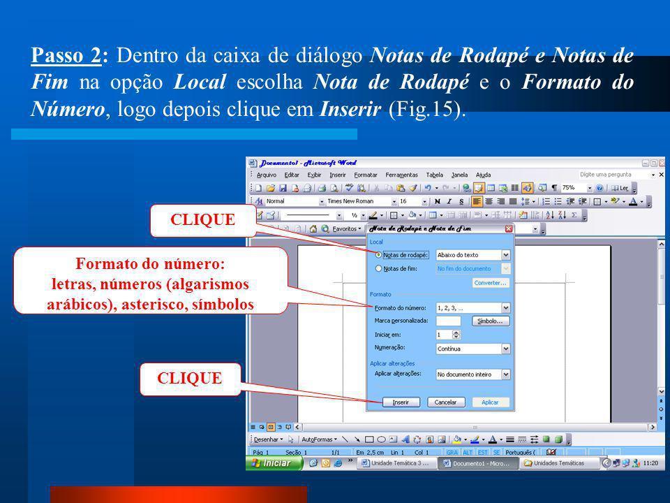 CLIQUE Passo 1: Clique no menu Inserir / Referência / Notas (Fig.14).