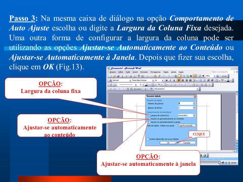 NÚMERO DE COLUNAS NÚMERO DE LINHAS Passo 2: Dentro da caixa de diálogo na opção Tamanho da Tabela escolha o Número de Colunas e Número de Linhas (Fig.