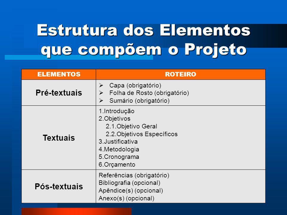 Projeto de Pesquisa É o planejamento de uma pesquisa, ou seja, a ordem em que as atividades devem ser realizadas.