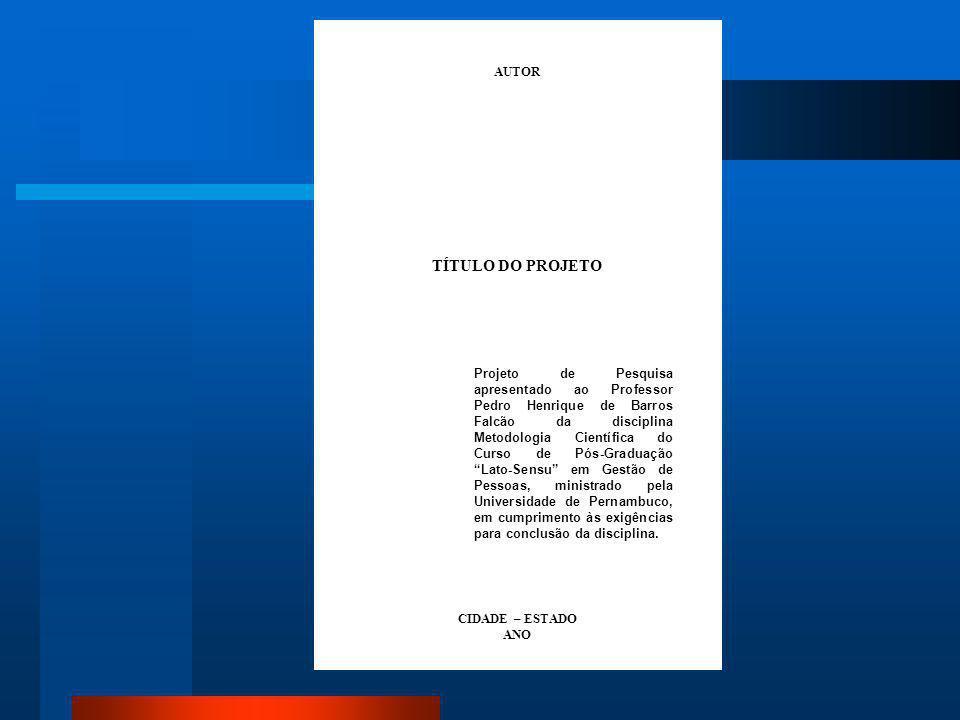 Folha de Rosto Elemento obrigatório, é a folha que apresenta os elementos essenciais à identificação do trabalho. Deve conter: 1. N ome do autor; 2. T