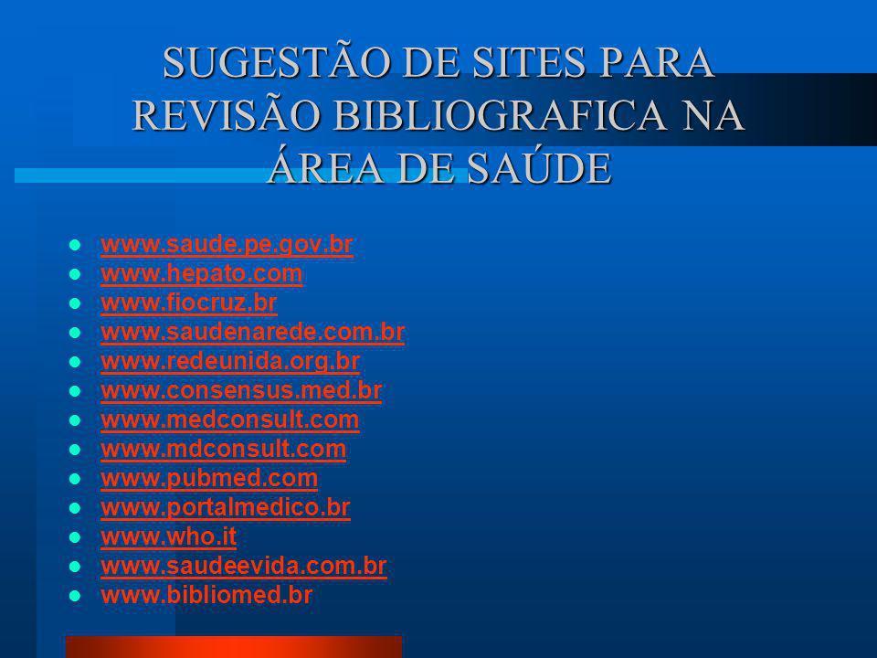 SUGESTÃO DE SITES PARA REVISÃO BIBLIOGRAFICA www. periodicos.capes.gov.br www.bireme.br www.medscape.com www.scielo.br www.mdconsult.com www.prossiga.