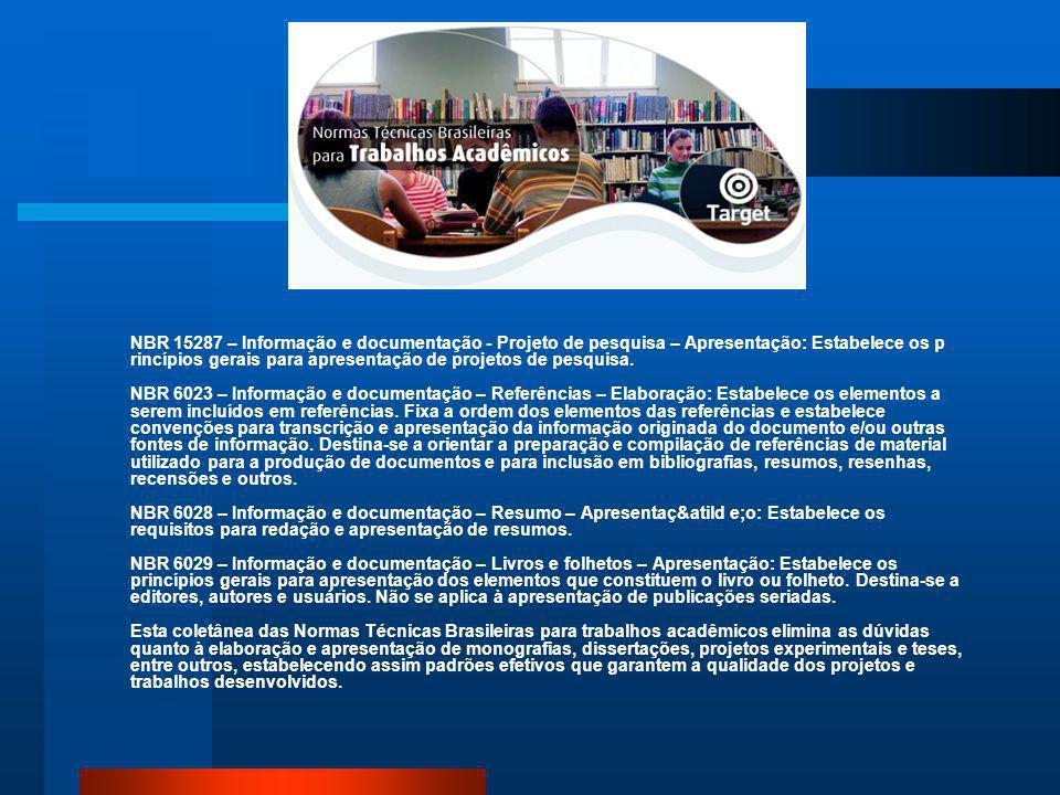 Pedro Henrique de Barros Falcão Publicada recentemente a Norma Brasileira NBR 14724 – Informação e documentação – Trabalhos acadêmicos – Apresentação,