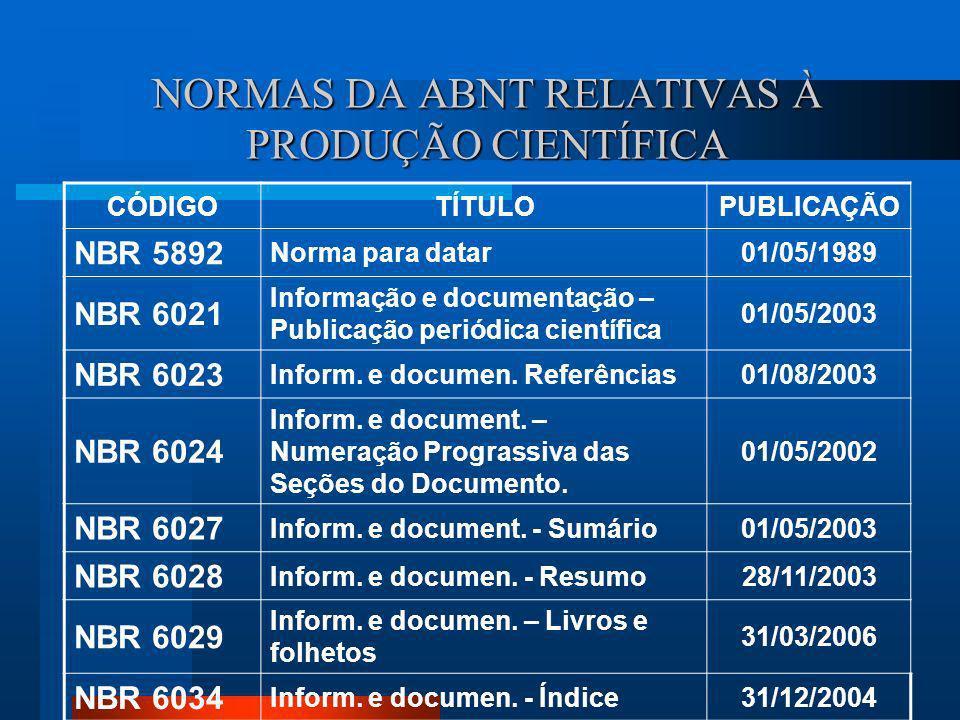 NBR 15287 – Informação e documentação - Projeto de pesquisa – Apresentação: Estabelece os p rincípios gerais para apresentação de projetos de pesquisa