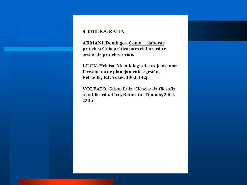BIBLIOGRAFIA Elemento opcional. Lista das obras que foram consultadas (lidas) e não citadas no trabalho. Deve ser listado em ordem alfabética conforme