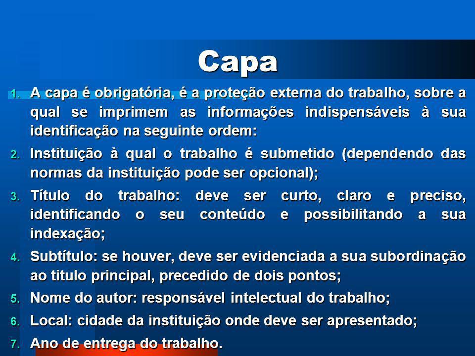 ELEMENTOSROTEIRO 1ROTEIRO 2 Pré-textuais Capa (obrigatório) Folha de Rosto (obrigatório) Folha de Aprovação (obrigatório) Folha de Dedicatória (opcion