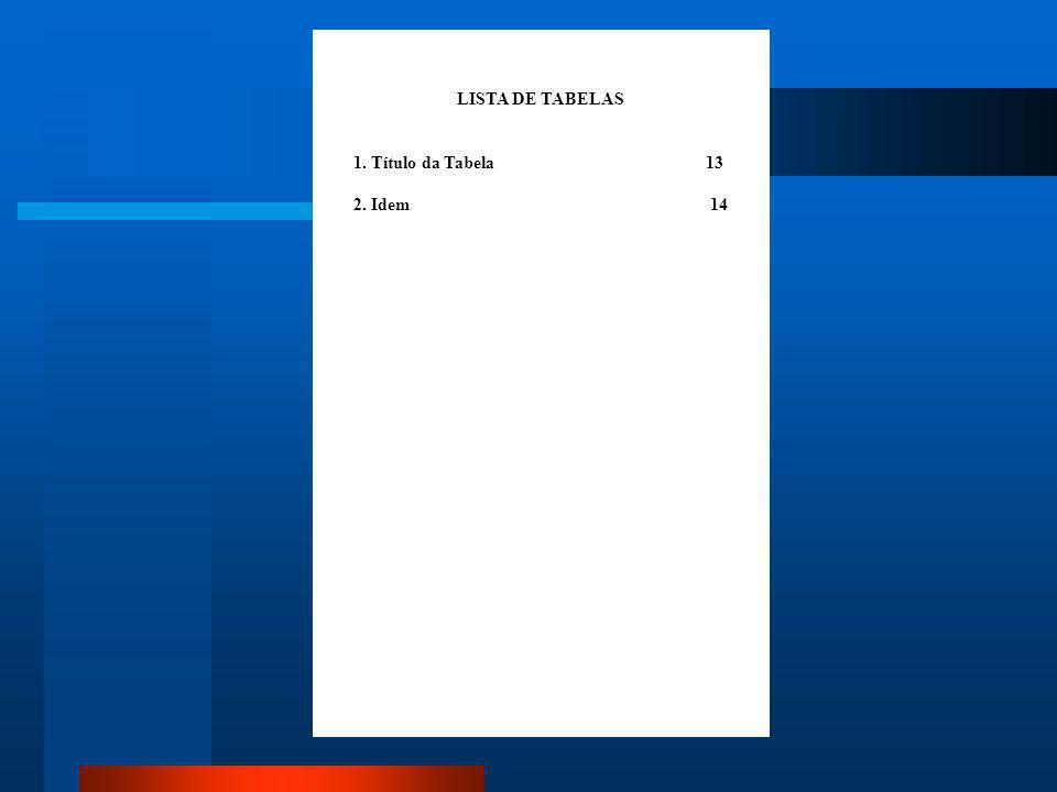 Lista de ilustrações (figuras), tabelas, abreviaturas e siglas São itens opcionais, localizam-se antes do sumário em páginas próprias e seus itens dev