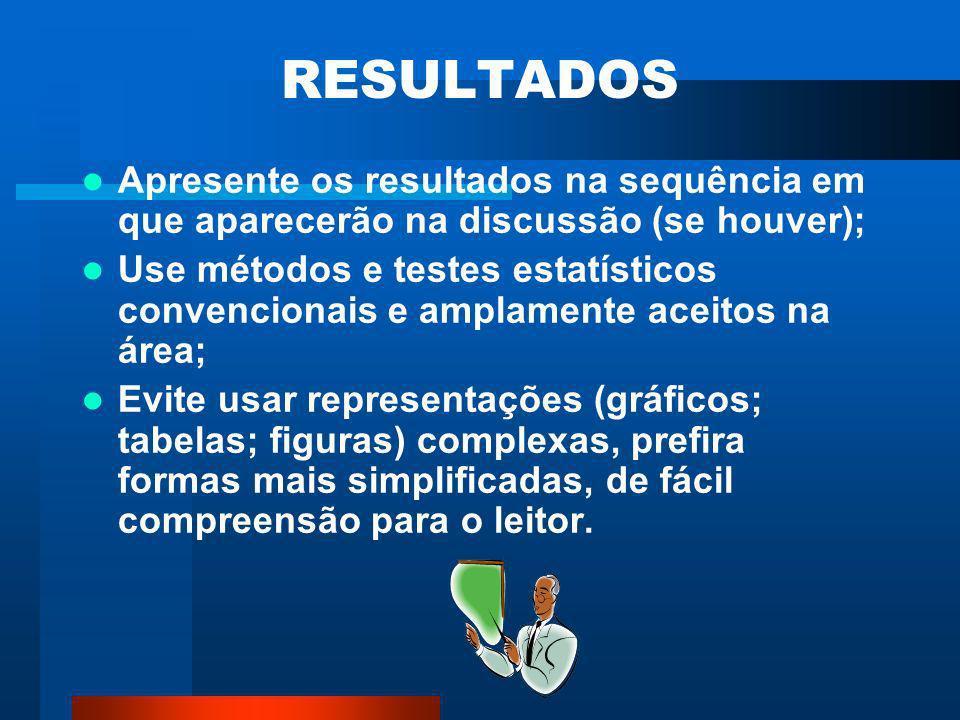 RESULTADOS OU RESULTADOS E DISCUSSÃO A seção resultados descreve sinteticamente o que foi obtido, se for o caso, fazer referencia as medidas e/ou cálc
