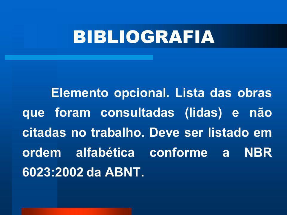 5 REFERÊNCIAS ASSOCIACÃO BRASILEIRA DE NORMAS TÉCNICAS. NBR 10520: informação e documentação: citações em documentos – apresentação. Rio de Janeiro, 2