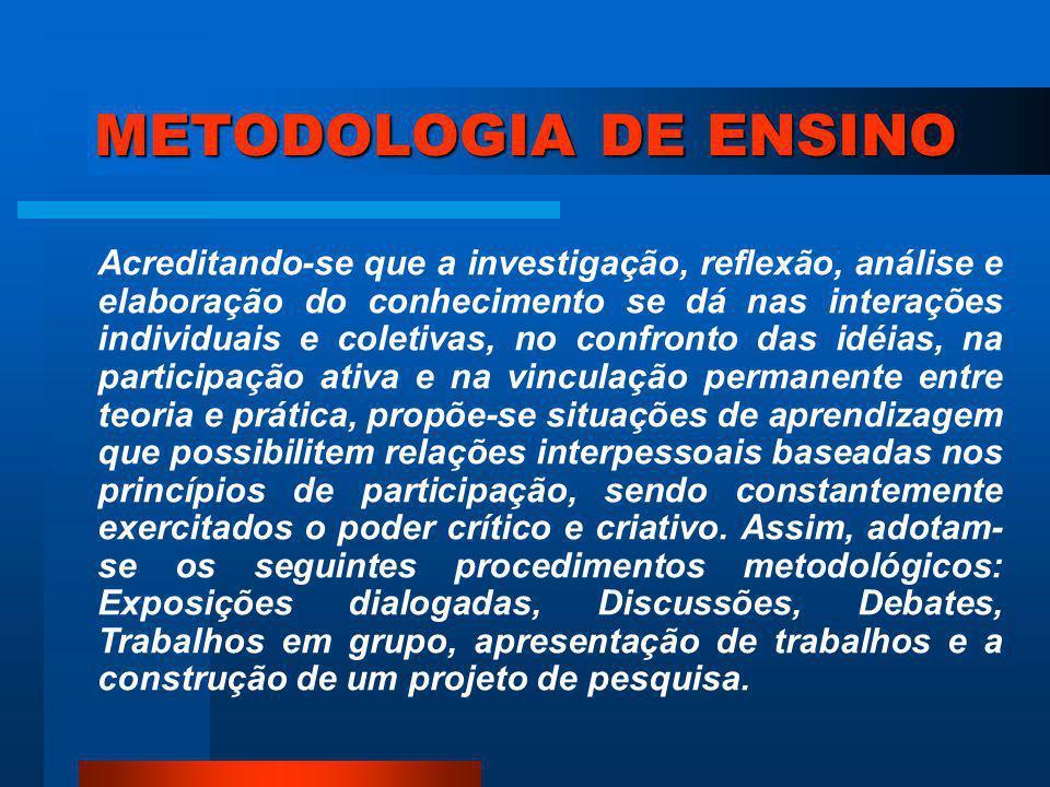 METODOLOGIA Conjunto de procedimentos aceitos e validados.