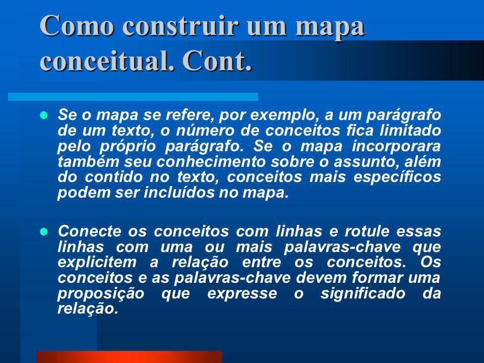 Como construir um mapa conceitual Identifique os conceitos-chave do conteúdo que vai mapear e ponha-os em uma lista. Limite entre seis e dez o número