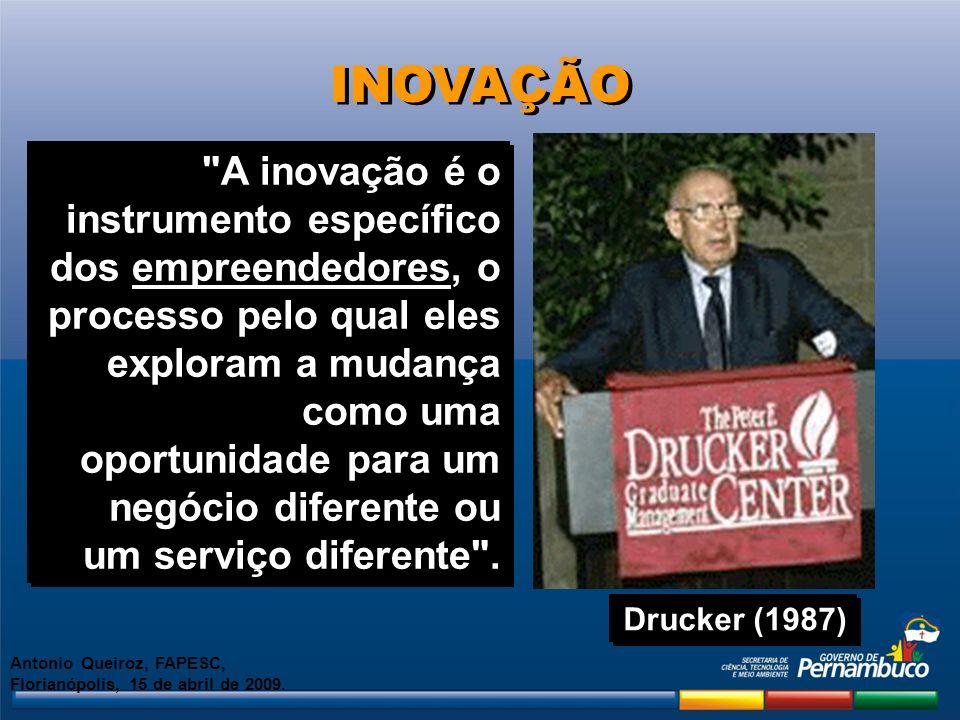 Inovação é a implementação com êxito de idéias criativas Marc Adam vice presidente de marketing da 3M Importância da Inovação Antonio Queiroz, FAPESC, Florianópolis, 15 de abril de 2009.