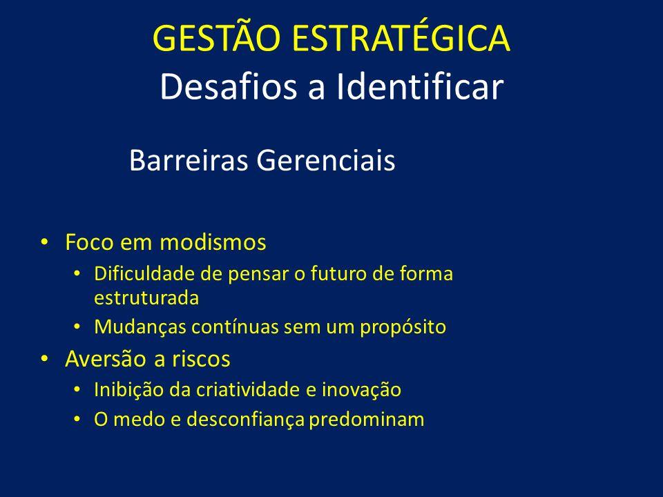 GESTÃO ESTRATÉGICA Desafios a Identificar Barreiras Organizacionais Burocráticas em excesso Barreira na busca de novos caminhos Como fazer é mais impo