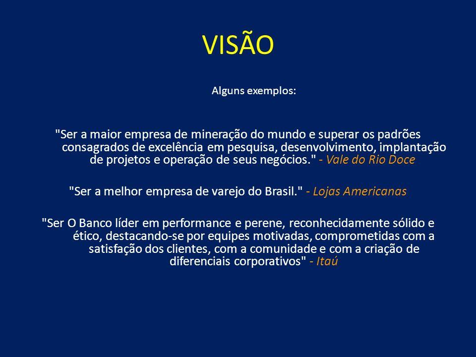 VISÃO A seguir, algumas dicas para o desenvolvimento da visão [visão do que a empresa quer ser no futuro] [características da empresa] [como quer ser