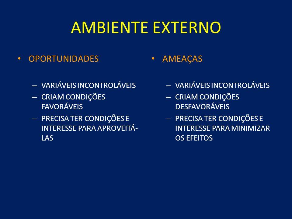AMBIENTE EXTERNO Demografia Ambiente político, econômico e social Ambiente legal e regulatório Ambiente tecnológico Ação dos competidores EMPRESA