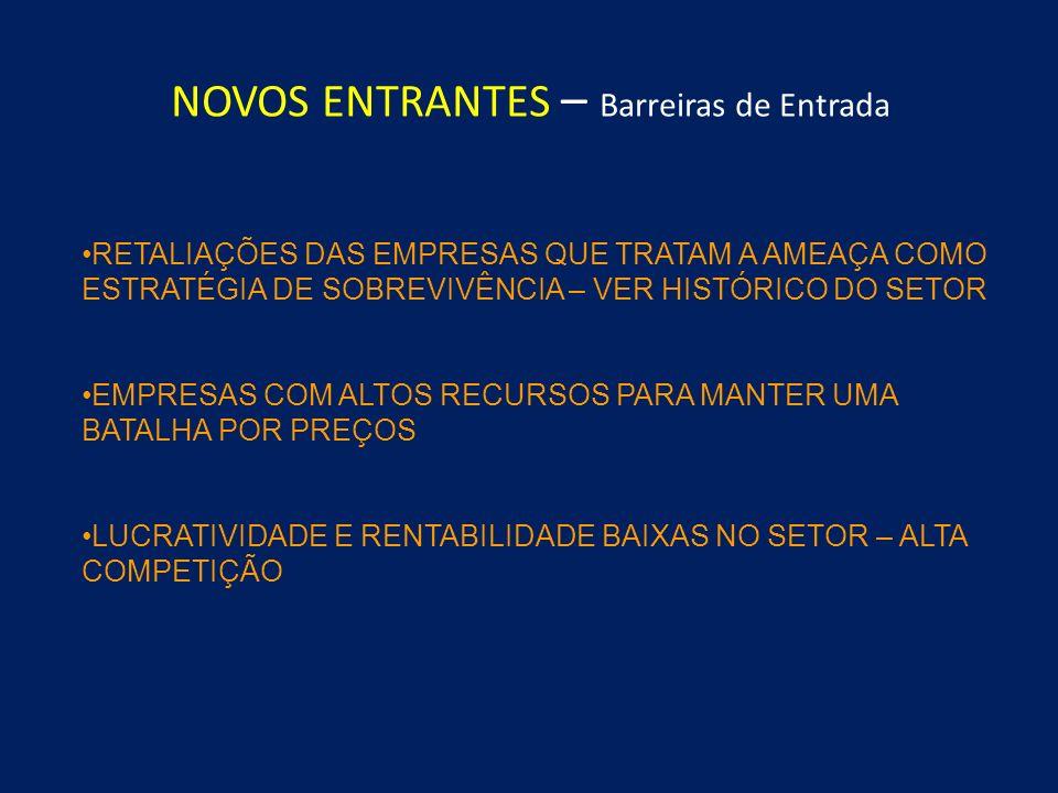 Alto Grau de Rivalidade MUITOS CONCORRENTES AUSÊNCIA DE CUSTOS DE MUDANÇA AUSÊNCIA DE DIFERENCIAÇÃO DE PRODUTOS GRANDE INTERESSE ESTRATÉGICO BARREIRAS