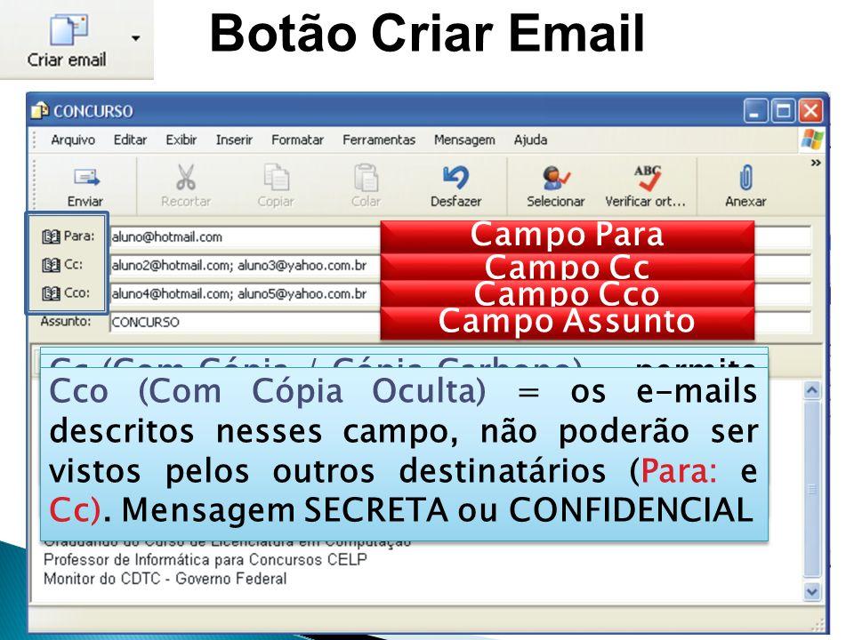 Botão Criar Email Campo Para Campo Cc Campo Cco Para = permite preencher um ou mais endereços de email (;) para vários destinatários.