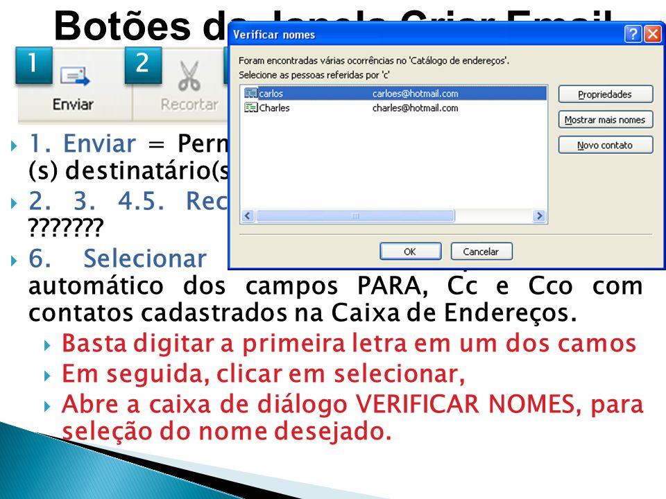 Botões da Janela Criar Email 1.Enviar = Permite o envio da mensagem para o (s) destinatário(s).