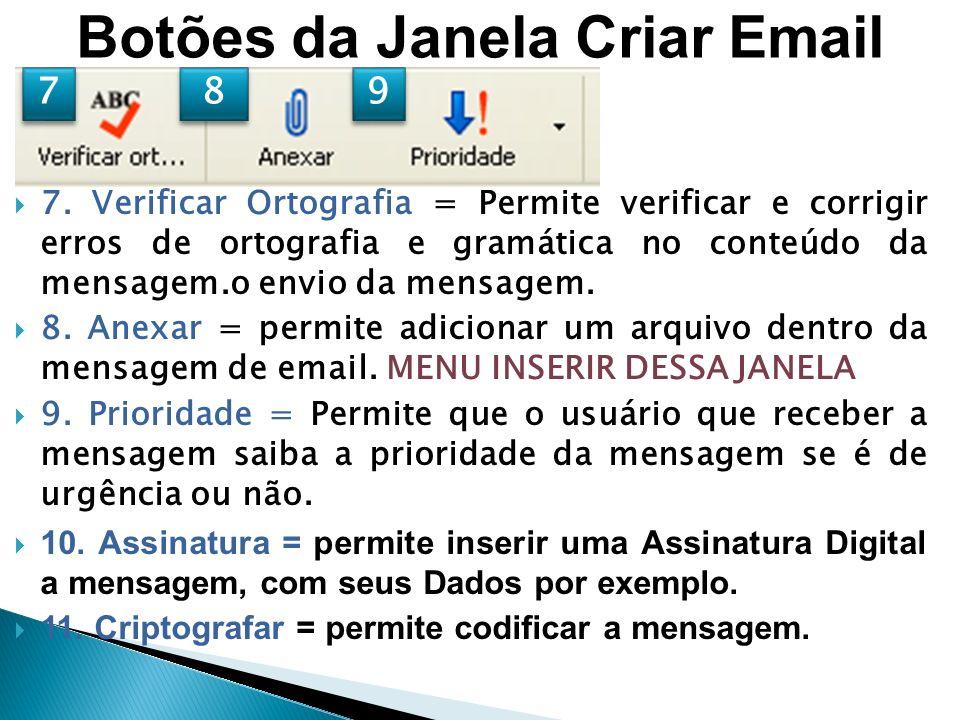 Botões da Janela Criar Email 7.