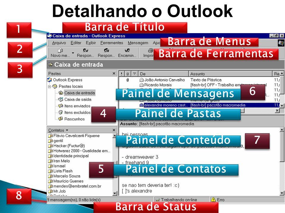 Detalhando o Outlook 1 1 2 2 3 3 4 4 5 5 6 6 7 7 8 8 Barra de Título Barra de Menus Barra de Ferramentas Painel de Pastas Painel de Contatos Painel de Mensagens Barra de Status Painel de Conteúdo