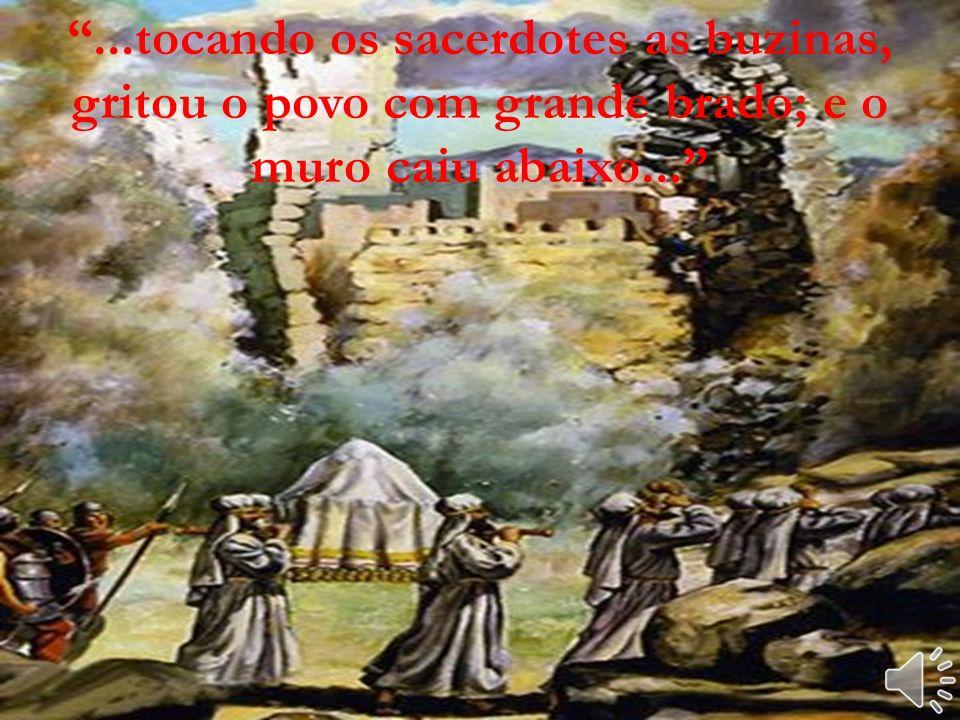 E sete sacerdotes levarão sete buzinas de chifres de carneiros adiante da arca, e no sétimo tocarão as buzinas.