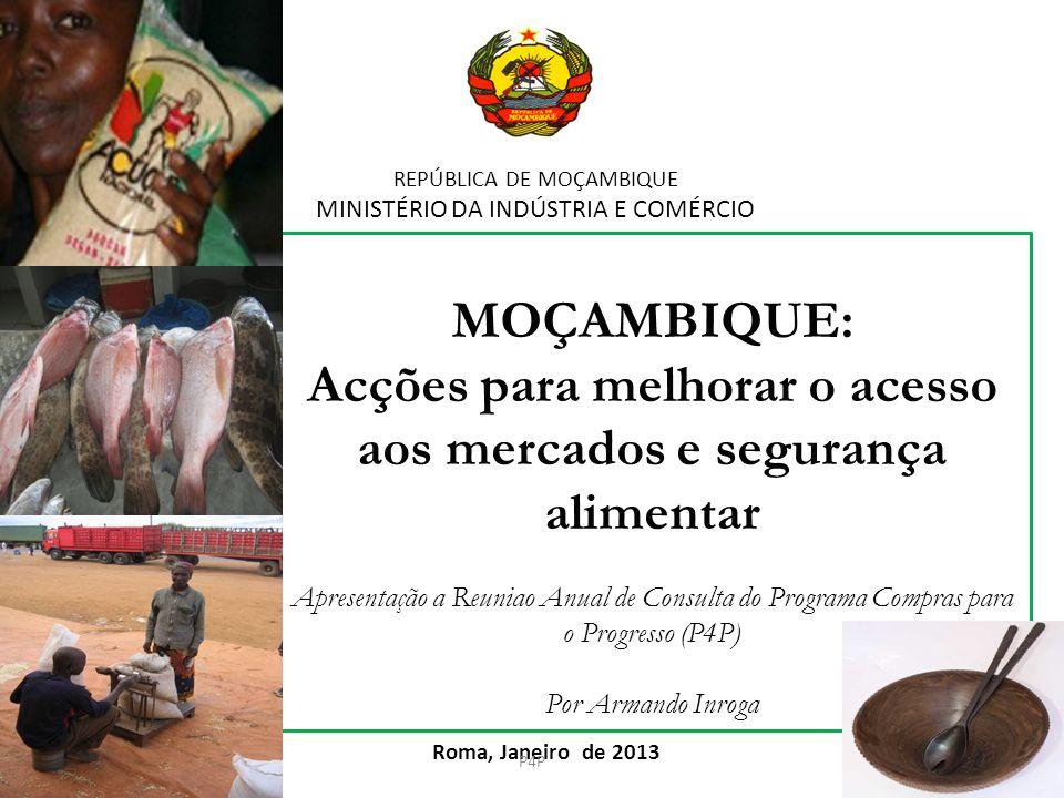REPÚBLICA DE MOÇAMBIQUE MINISTÉRIO DA INDÚSTRIA E COMÉRCIO Roma, Janeiro de 2013 MOÇAMBIQUE: Acções para melhorar o acesso aos mercados e segurança al