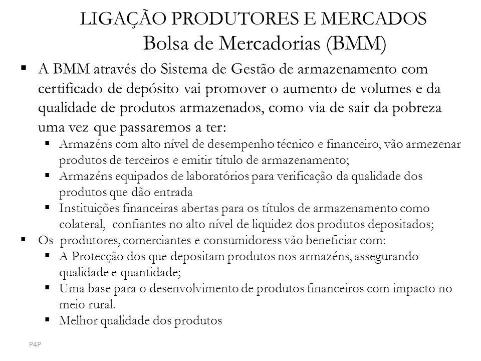 LIGAÇÃO PRODUTORES E MERCADOS Bolsa de Mercadorias (BMM) A BMM através do Sistema de Gestão de armazenamento com certificado de depósito vai promover