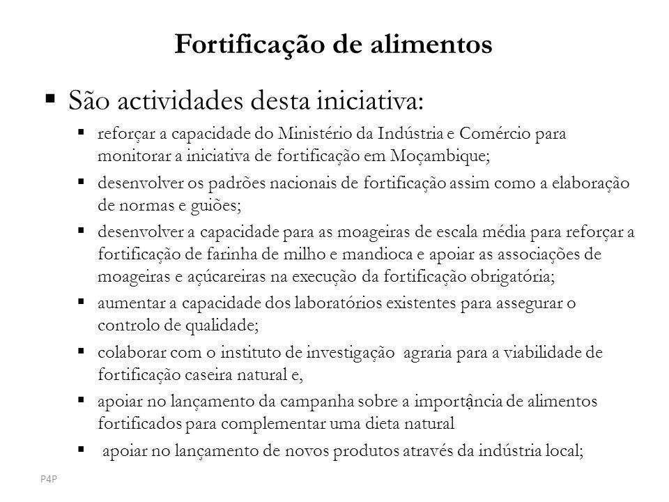 São actividades desta iniciativa: reforçar a capacidade do Ministério da Indústria e Comércio para monitorar a iniciativa de fortificação em Moçambiqu