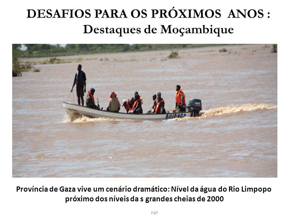 P4P DESAFIOS PARA OS PRÓXIMOS ANOS : Destaques de Moçambique Província de Gaza vive um cenário dramático: Nível da água do Rio Limpopo próximo dos nív