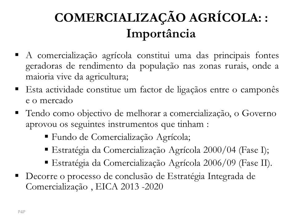COMERCIALIZAÇÃO AGRÍCOLA: : Importância A comercialização agrícola constitui uma das principais fontes geradoras de rendimento da população nas zonas