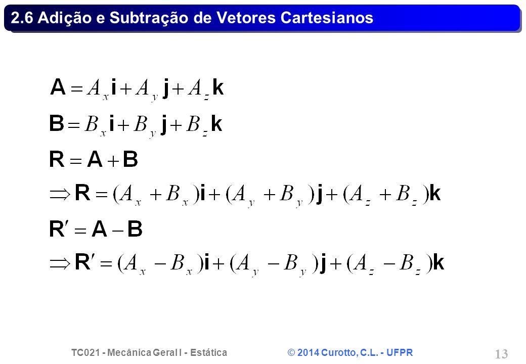 TC021 - Mecânica Geral I - Estática © 2014 Curotto, C.L. - UFPR 13 2.6 Adição e Subtração de Vetores Cartesianos