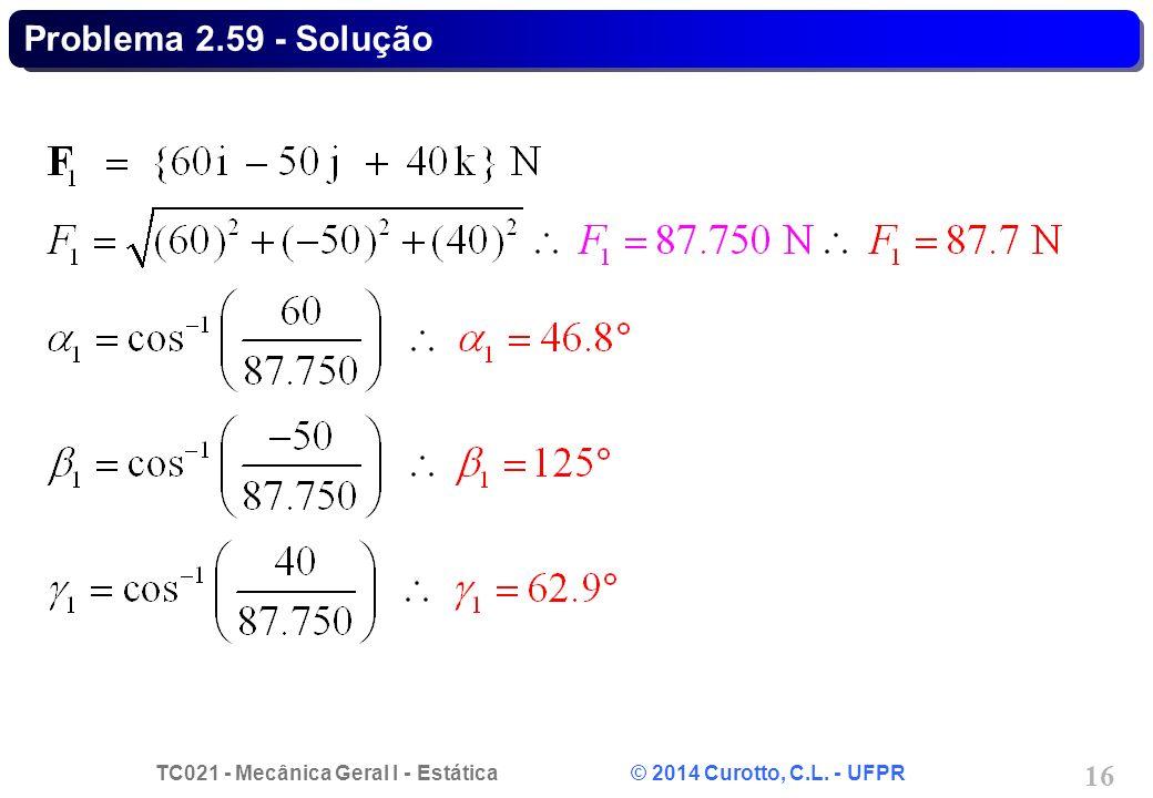 TC021 - Mecânica Geral I - Estática © 2014 Curotto, C.L. - UFPR 16 Problema 2.59 - Solução