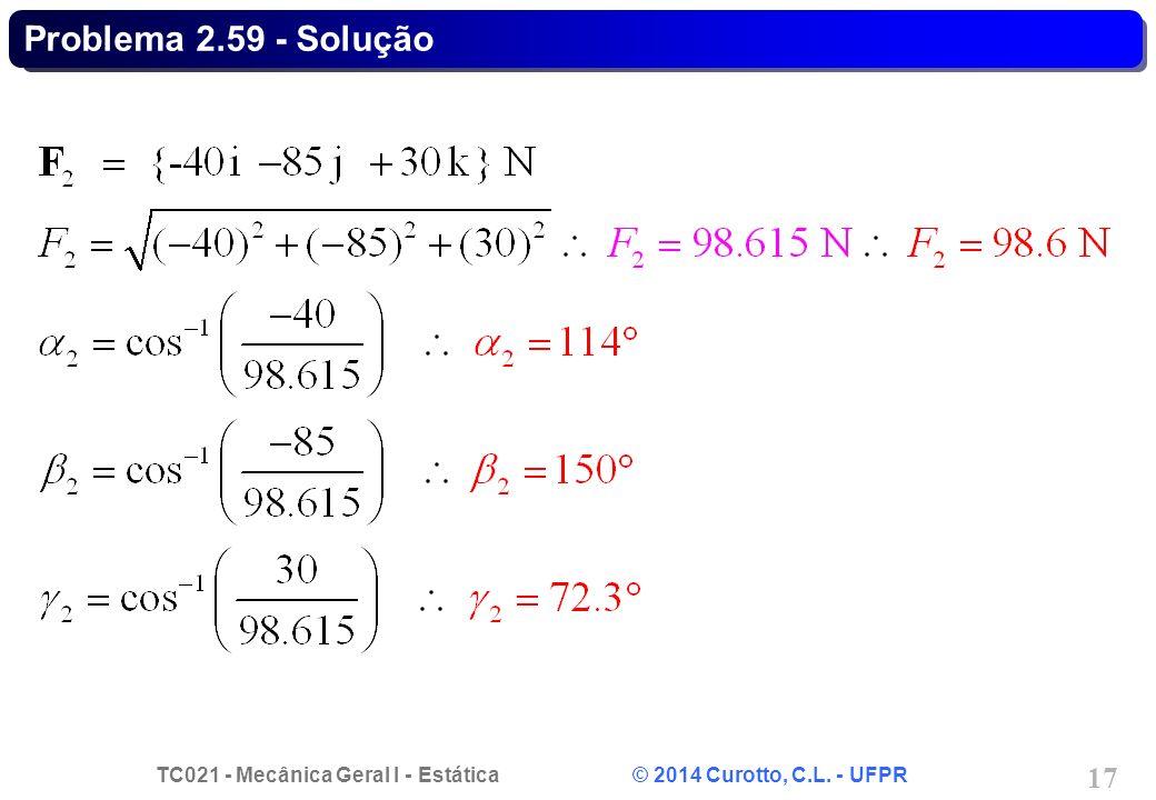 TC021 - Mecânica Geral I - Estática © 2014 Curotto, C.L. - UFPR 17 Problema 2.59 - Solução