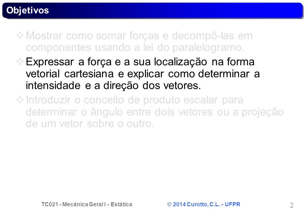 TC021 - Mecânica Geral I - Estática © 2014 Curotto, C.L. - UFPR 2 Objetivos Mostrar como somar forças e decompô-las em componentes usando a lei do par