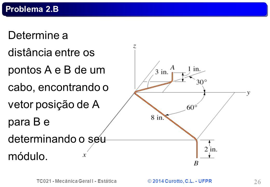 TC021 - Mecânica Geral I - Estática © 2014 Curotto, C.L. - UFPR 26 Problema 2.B Determine a distância entre os pontos A e B de um cabo, encontrando o