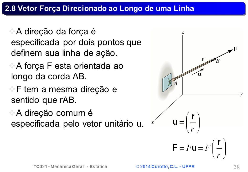 TC021 - Mecânica Geral I - Estática © 2014 Curotto, C.L. - UFPR 28 2.8 Vetor Força Direcionado ao Longo de uma Linha A direção da força é especificada